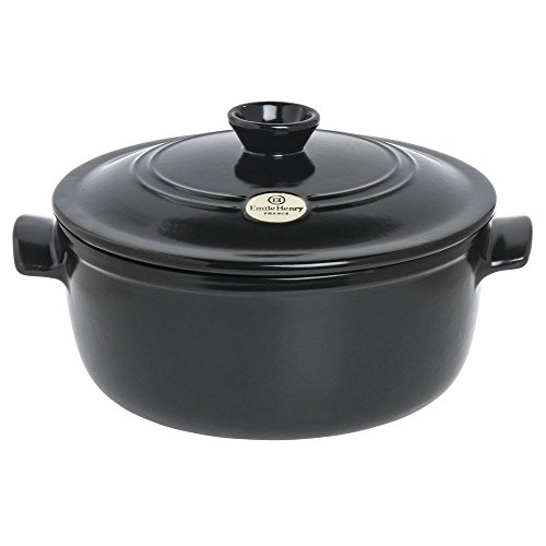 Emile Henry Flame 5 1/2 qt Round Charcoal Ceramic Dutch Oven - 11 1/4''Dia x 7''H by EMILE HENRY