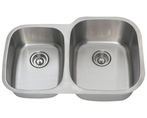 Polaris Sinks PR305-16 Offset Double Bowl Stainless Steel Sink by Polaris Sinks by Polaris Sinks