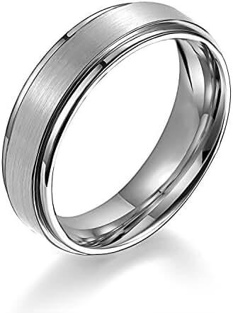 EZreal Men's / Women's Matte Step Edge Light Weight Silver White Titanium Promise Ring