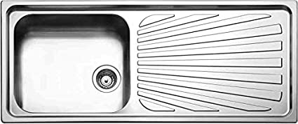 Lavello Cucina Incasso 1 Vasca Gocciolatoio 116cm Acciaio Inox ...