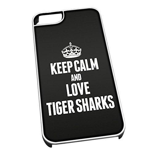 Bianco cover per iPhone 5/5S 2493nero Keep Calm and Love Tiger Sharks