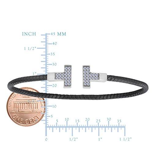 En argent Sterling et ruthénium Finition noire Forme ovale en forme de menotte avec zircones Style T