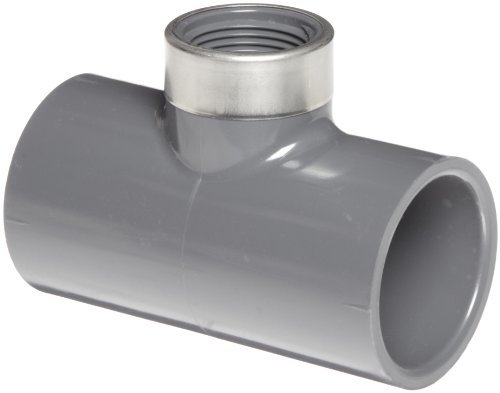 80 Gray Tee Pvc Socket - Spears 802-SR Series PVC Pipe Fitting, Tee, Schedule 80, Gray, 3/4 Socket x 1/4 Stainless Steel NPT Female by Spears Manufacturing