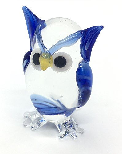 HAND BLOWN Art Glass,Owl Miniature Animals Collection, Dollhouse Miniatures, By Audomna Shop.