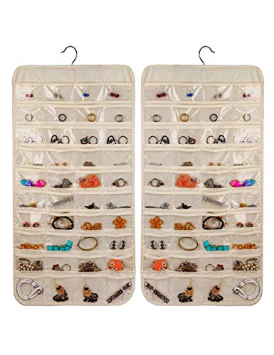 Hanging Jewelry Organizer, Non-Woven Double Sides 80 Clear Pockets Jewelry Wall Organizer for Storing Jewelries, Earrings, Necklaces, Makeups, Hair Accessories organizers in Closet, Travel #Beige