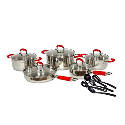 Cooking In Style 15-Piece Stunning Stainless Steel Pot And Pan Red Handle Cookware Set With 5 Durable Cooking Utensils Glass Lids Incredible Delicious Home Cooked Gourmet Chef Meals
