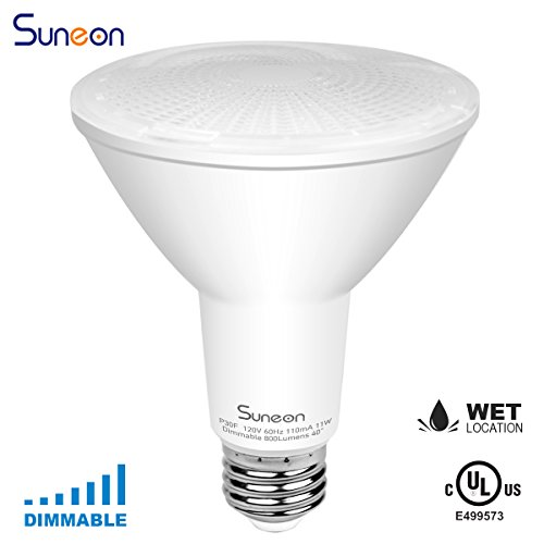 SUNEON Par30 Led Bulbs Long Neck(L=4.56'') 5000k Daylight Dimmable Spotlight - 11w 75watt-equivalent Spot Light Bulbs - 120v E26 UL Qualified (Par30 Neck Long Spot)