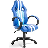 High Back Executive Car Racing Gaming Swivel Office Chair Pu Leather Blue Stripe