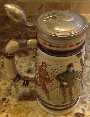 RETRO BEER STEIN Great American Football Cologne MADE IN Brazil AVON 1983