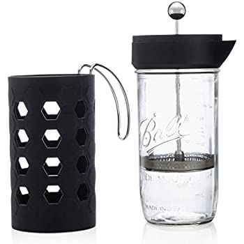 Mason Jar French Press | 6 cup (24oz) | Tea & Coffee Maker | Black | by Simple Life Cycle