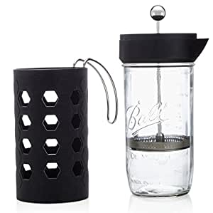 Coffee Maker Jar : Amazon.com: Mason Jar French Press 6 cup (24oz) Tea & Coffee Maker Black by Simple Life ...