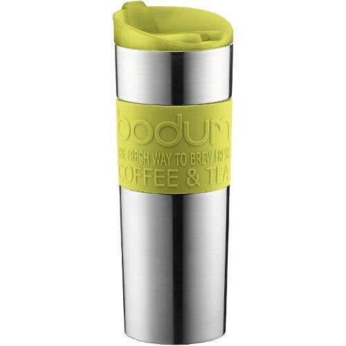 Bodum Stainless Steel 16-Ounce Vacuum Travel Mug with Green Silicone Grip (Coffee Vacuum Bodum)