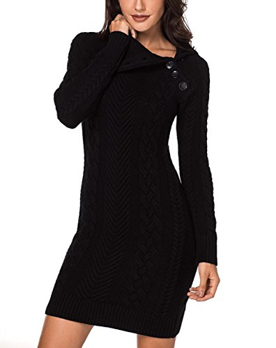 Sidefeel Women Asymmetric Buttoned Collar Bodycon Mini Sweater Dress Large ()