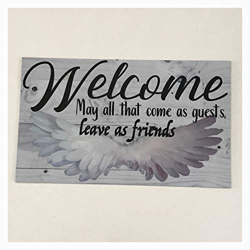 (Iliogine Decorative Wooden Sign Welcome May All That Come As Guests Leave As Friends Angel Wings Wall Plaque Or Hanging House Door Wall Home Wall Art Plaque)