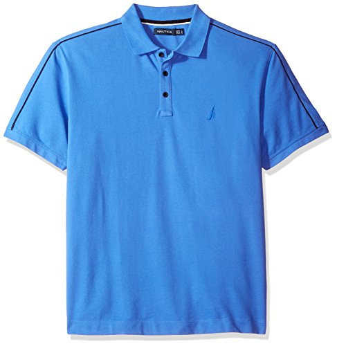 Nautica Men's Short Sleeve Shoulder Stripe Polo Shirt, French Blue, Large