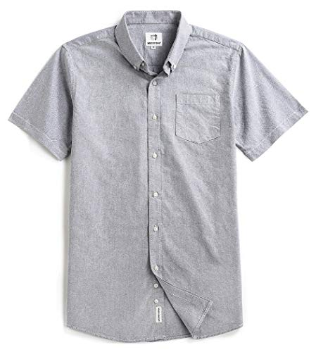 Men's Short Sleeve Oxford Button Down Casual Shirt Light Gray XX-Large
