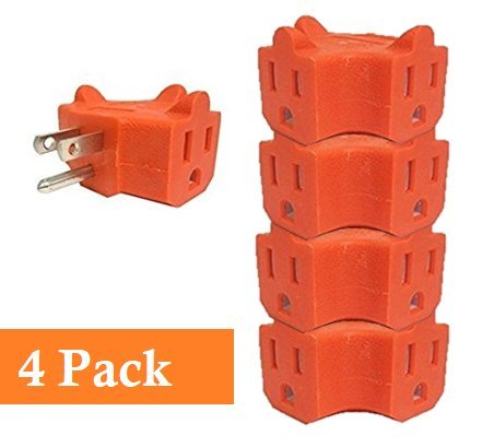 UrbHome 3 Way Outlet Adapter Wall Plug, 3 Outlets, Color Orange (4Pack)