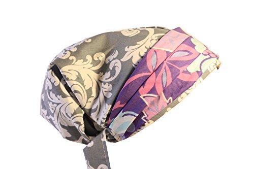 Scrub Hat Chemo Cap European BOHO Banded Pixie Bad Hair Day MANY Colors (grey lilac/flrl) by Scrumptious Scrub Hatz