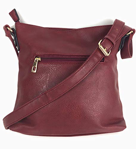 Compact Body amp; Burgundy Bag for Designer Across Ladies Medium Leather Grained MEGAN High Quality Size PU Supple Multi in Handbags with Smart Multi shoulder Pockets wvw0qC8W