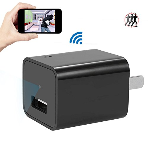Mini 1080P HD WIFI Camera Charger USB UYIKOO Wireless Wall Plug Adapter small Cam with Motion Detection Remote View Loop Recording