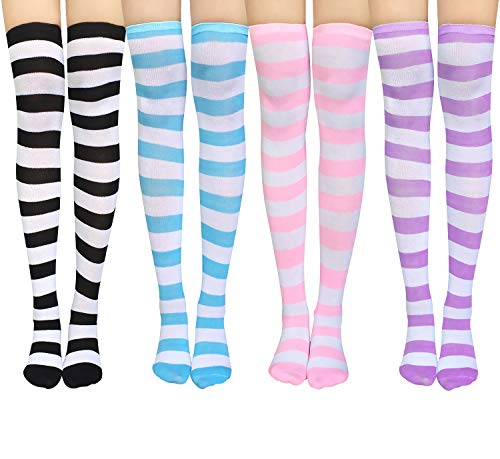Chalier Womens Long Socks Striped Thigh High Socks Cotton Over the Knee Socks Boot Stockings Leg Warmers -