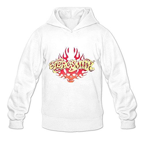 Aerosmith Fire Logo Round Neck Hoodies For Adult White L Classic - Kunis Aerosmith Mila