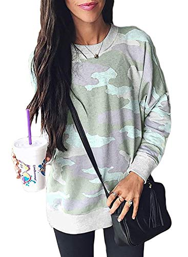 (Ecrocoo Womens Junior Camo Sweatshirt Simple Long Sleeve Crew Neck Blouse Sweatshirt Pullover for Juniors Green Medium)