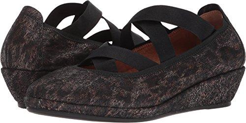Gentle Souls Kenneth Cole Women's Natalie Demi Wedge Closed Toe Elastic Straps Shoe, Black/Leopard, 8 M US ()