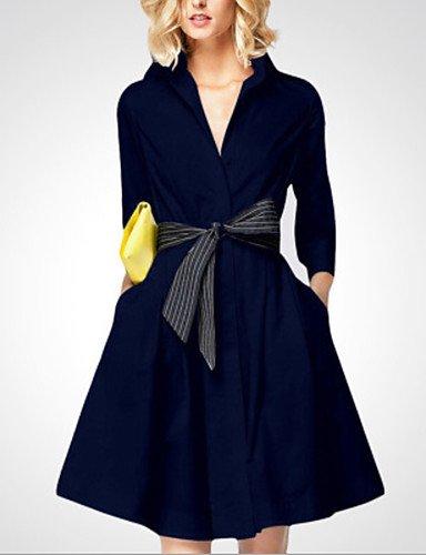 Fino JIALELE Cintura De Vestimenta Fiesta Micro La Femenina Larga marino De Alta Fiesta Mujer V Azul Vestido Cuello Elástico Manga a1rwxaS