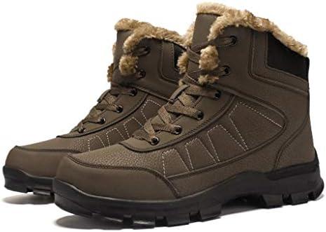 耐久性に優れたショートアンクルブーツ暖かい寒い天気の靴をハイキング人工皮革屋外ノンスリップ男性レースアップのためのスノーブーツ (色 : 黒, サイズ : 28.5 CM)