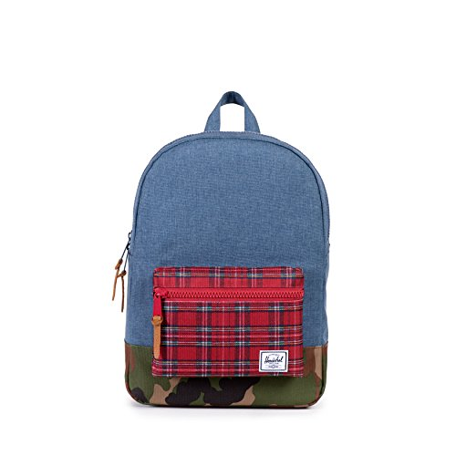 Herschel Supply Co. Settlement Youth, Navy Crosshatch/Red Plaid/Red Backtab/Tan Pebbled, One Size (Tan Backpack Plaid)