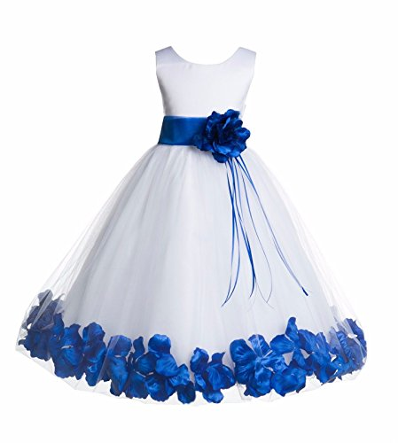 White Tulle Floral Rose Petals Junior Flower Girl Dress Christening Dress 007 -