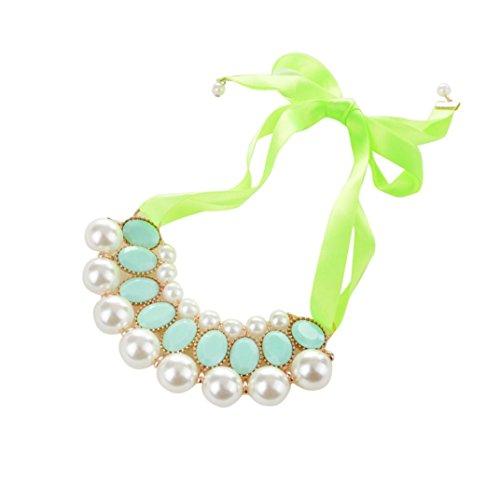 Boyshort Ribbon - Hunputa Womens' Summer Pearl Diamond Beads Bowknot Choker Necklace Jewelry Beauty Ribbon Clavicle Chain (Green)