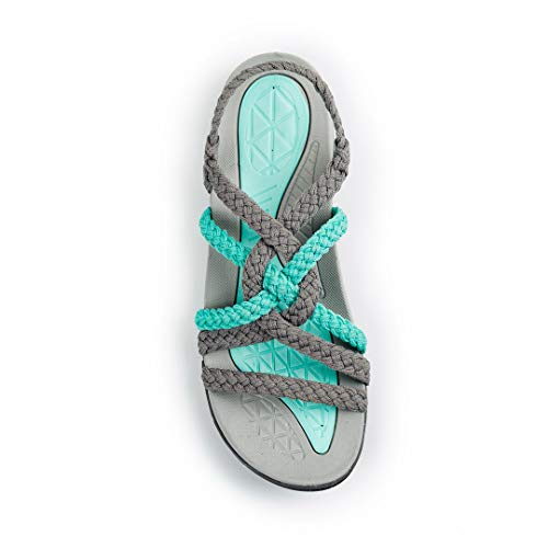 49087ca76542 Plaka Hiking Sandals for Women Urban Gray Turquoise Size 7 Explore