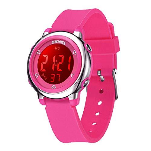 WUTONYU(TM) Children Digital Watch Kids Boy Girls LED Alarm Stopwatch Waterproof Wristwatches(Rose)