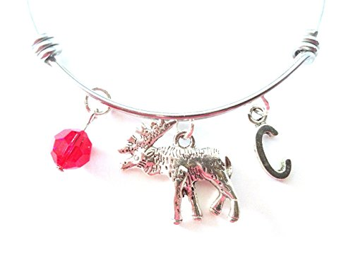 Moose themed personalized bangle bracelet. Antique silver charms and a genuine Swarovski birthstone colored element.