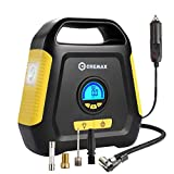 CREMAX Car Tire Inflator, Air Compressor Pump, 12V DC Portable Automotive Air Pump up to 120 PSI, Digital LCD Display and Emergency Led Lighting for Car, Bicycle, Motorcycle, Balls