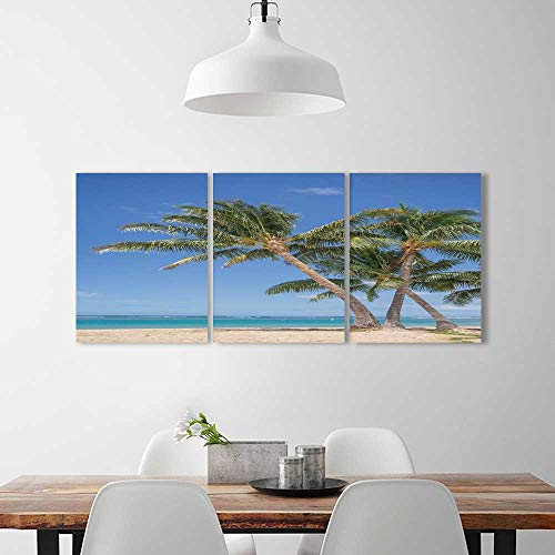 3 Pieces Art The Picture Home Decoration Frameless Isolated Waikiki Beach View a Grove Coconut Palm Trees Art Home Decorations Wall Decor