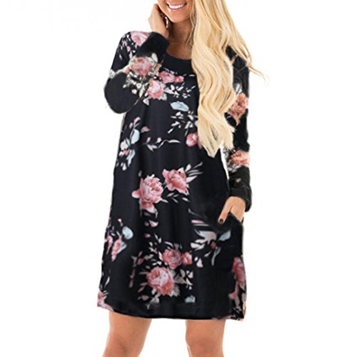 de impreso floral vestidos OverDose manga casual Negro fiesta larga mujer YnqwR8S