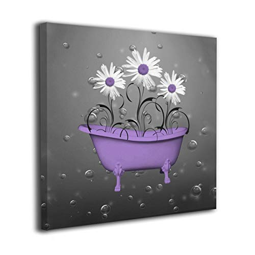 - Ale-art Purple Gray Daisy Flowers Bubbles Modern Oil Painting for Wall Decor Gallery Wrapped Giclee Wall Art On Canvas Ready to Hang 16