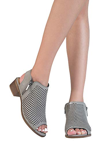 J. Adams Tracy Perforated Bootie – Casual Open Toe Low Heel - Cut Out Shoe Light Grey