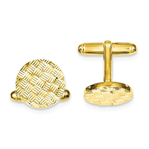 ICE CARATS 925 Sterling Silver Vermeil Round Woven Design Cuff Links Mens Cufflinks Man Link Fine Jewelry Dad Mens Gift Set by ICE CARATS (Image #4)