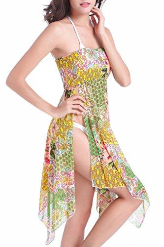 UTOVME Chiffon Elastic Sarong Bikini Cover Up Beach Wear Caftan Swimsuit Wrap