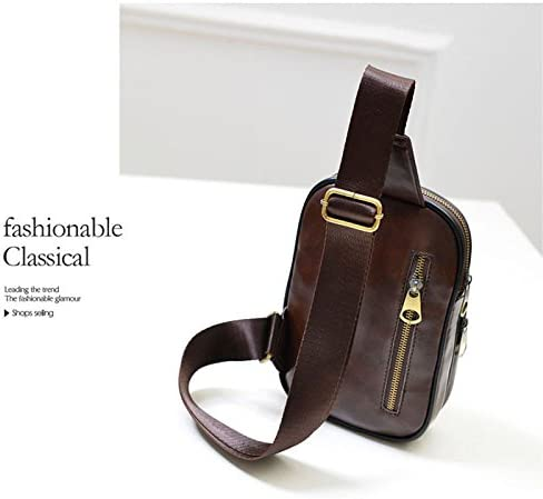 Men/'s Leather  Shoulder Bag Chest Cycle Sling Pack Satchel Purse  Small Day Pack