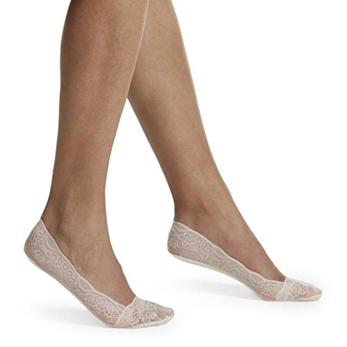 HUE Women's Low Cut Lace Liner Sock with Heel Gel Tab, Nude Blush, One Size