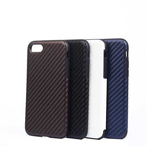 MXNET Fall für iPhone 7 Plus, Carbon-Faser-Beschaffenheit weicher PU-schützender Fall-rückseitige Abdeckung CASE FÜR IPHONE 7 PLUS ( Color : White )
