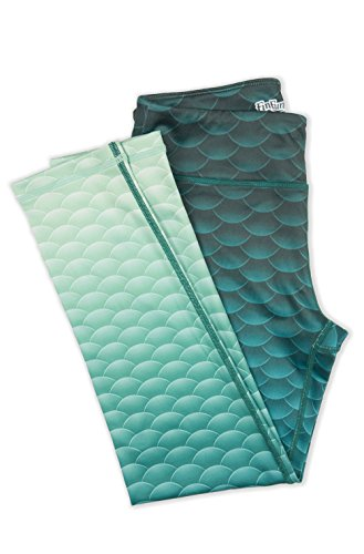 Fin Fun Women's Mermaid Yoga Leggings - Deep Sea Green - Large