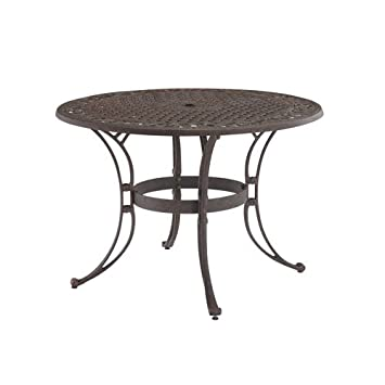 home style biscayne round outdoor dining table rust bronze finish 48