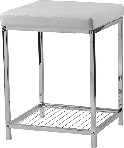 White Seat Pvc (EVIDECO 96109102 Bath Metal Stool with PVC Cushion and Storage Shelf White 14 L x 14 W x 19 H)
