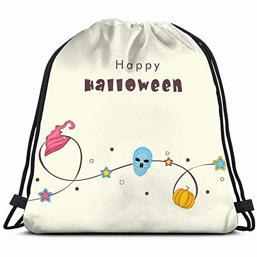 Happy Halloween Poster Banner Flyer Design Abstract Holidays Drawstring Bag Backpack Gym Dance Bag Reversible Flip Sequin Bling Backpack For Hiking Beach Travel -